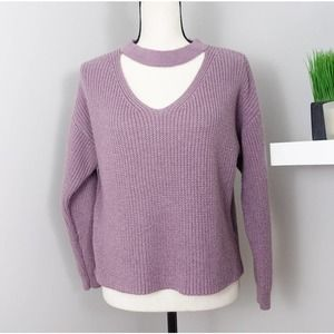 Miracle Purple Oversized Cropped Knit Sweater S/M